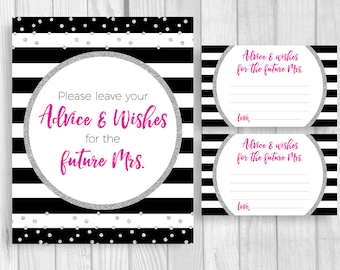 SALE Leave Your Advice and Wishes 8x10 Printable Bridal Shower Sign and 3x5 Cards Black White Stripes - Hot Pink Silver Glitter Polka Dots