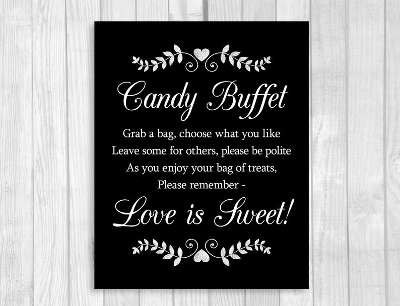 Awesome Wedding Or Bridal Shower Candy Buffet Sign Black White With Hearts And Laurels 5X7 8X10 Printable Instant Digital Download Download Free Architecture Designs Parabritishbridgeorg