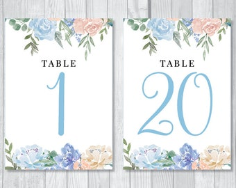 Printable Wedding Table Numbers - Numbers 1 through 20 - Dusty Blue and Cream Watercolor Floral - Instant Download
