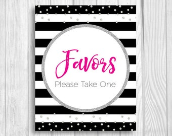 Favors Please Take One Black and White Stripes Printable 5x7, 8x10 Baby Shower Sign - Hot Pink and Silver Glitter Confetti Polka Dots