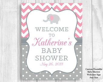 SALE Custom Personalized Printable Pink and Gray Elephant Girl's Baby Shower Welcome Sign - Any Size -  Features Mom-To-Be's Name