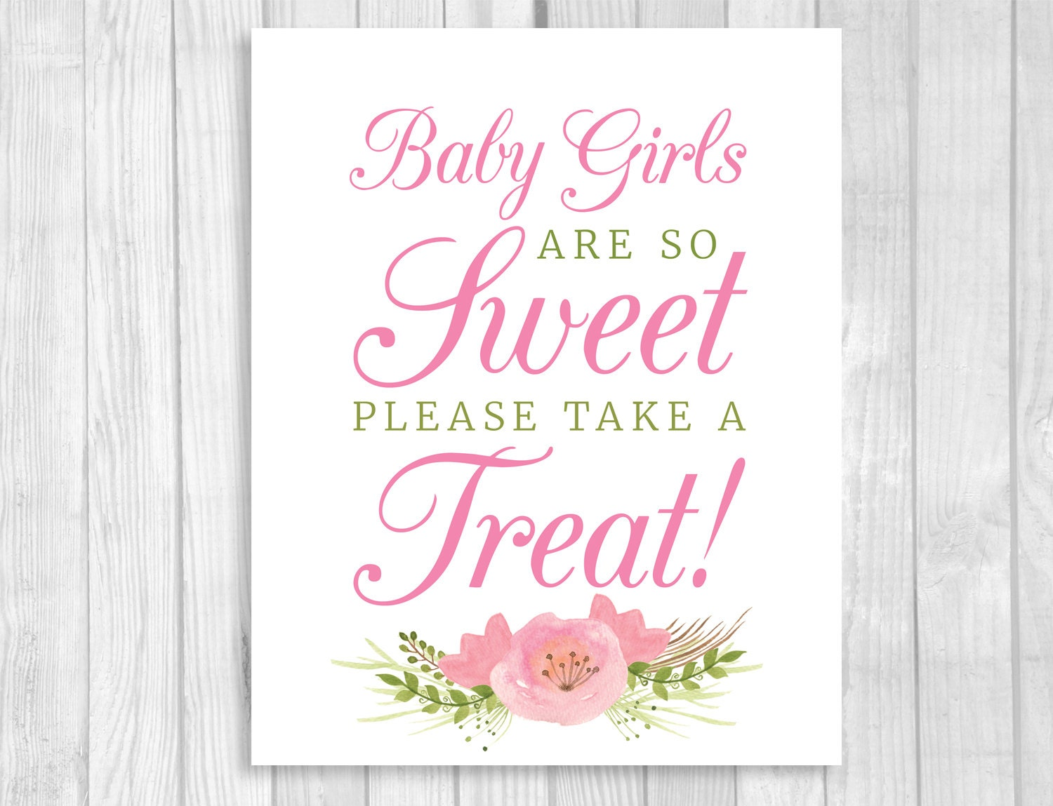 Baby Girls Are So Sweet Please Take A Treat 5x7 8x10 Etsy