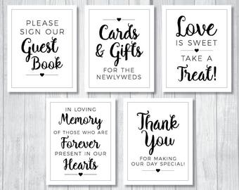 Printable Black and White Wedding Sign Bundle - Guest Book, Cards and Gifts, Love is Sweet, In Loving Memory and More! Instant Download