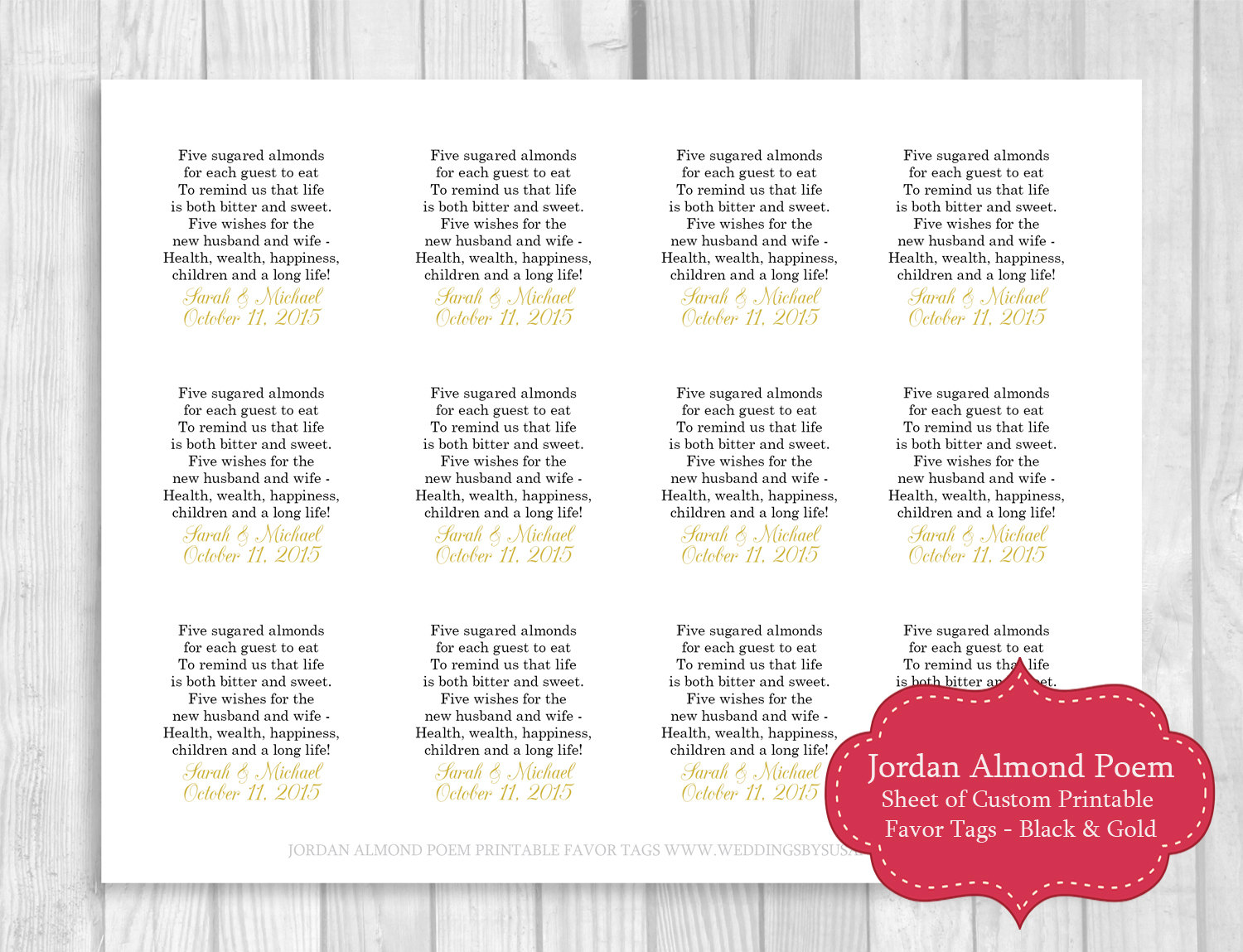 Printable Sheet of 12 Personalized Jordan Almond Poem Wedding
