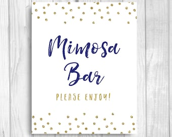 Mimosa Bar, Please Enjoy 5x7, 8x10 Bridal Shower, Baby Shower or Wedding Sign - Navy Blue and Gold Glitter Polka Dots - Instant Download