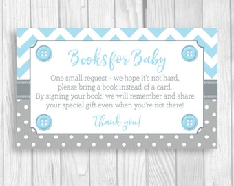 SALE Cute as a Button Printable Baby Shower Book Request Cards - Sheet of 3x5 Books for Baby Cards - Light Blue and Gray Boy's Baby Shower