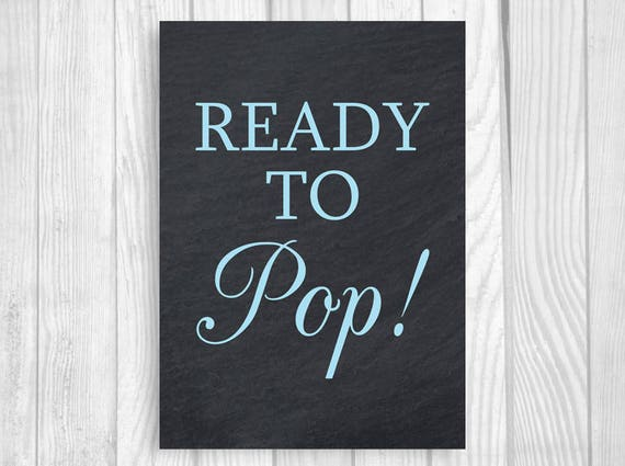 Ready to Pop Boy/'s Baby Shower Popcorn Bar 5x7 Instant Download 8x10 Printable Chalkboard and Baby Blue Treat Table Sign