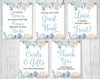 Dusty Blue and Cream Watercolor Floral Printable Wedding Sign Bundle - Guest Book, Cards and Gifts, Love is Sweet, In Loving Memory & More!