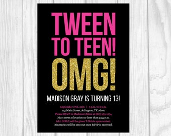Custom Printable 5x7 Tween To Teen Girl's 13th Thirteen Birthday Party Invitation - Black, Hot Pink and Gold Glitter - Digital Download