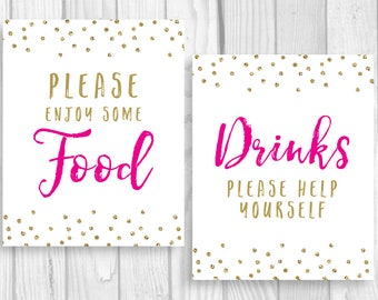 Please Enjoy Some Food 8x10 Printable Sign - Hot Pink and Gold Glitter Polka Dots - Instant Download