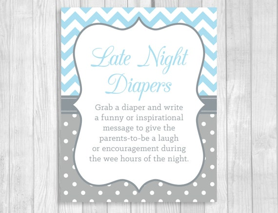 graphic regarding Late Night Diaper Messages Free Printable referred to as SALE Late Evening Diapers 5x7, 8x10 Printable Kid Shower Indicator inside of Light-weight Blue and Grey Chevron and Polka Dots - Humorous Guidance for Mother and Father