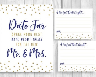 Date Jar 8x10 Bridal Shower or Wedding Date Night Ideas for Mr. & Mrs. Printabel Sign and 4x5 Cards - Navy Blue and Gold Glitter Polka Dots