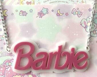 White Barbie laser cut acrylic necklace
