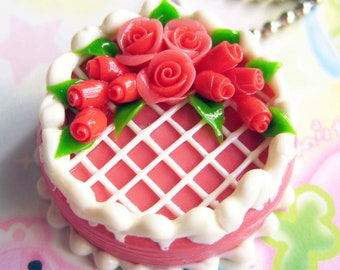 Red rose wedding cake charm