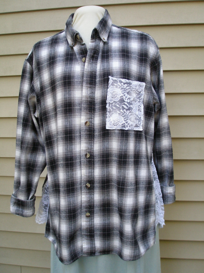 ef71f1b77b Plaid Flannel Shirt Upcycled Lace Shirt Country Girl Flannel