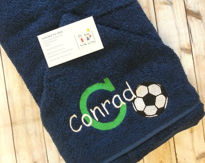 Personalized  Soccer Hooded Towel, Soccer Towel, Soccer Gift, World Cup Gift, Soccer Star