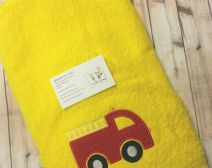Personalized  Hooded Towel with Firetruck, Firefighters Towel, First Responder Gift