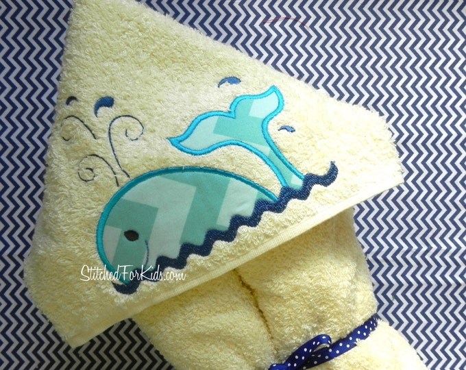 Whale Hooded Towel Personalized  for Pool, Beach or Bath