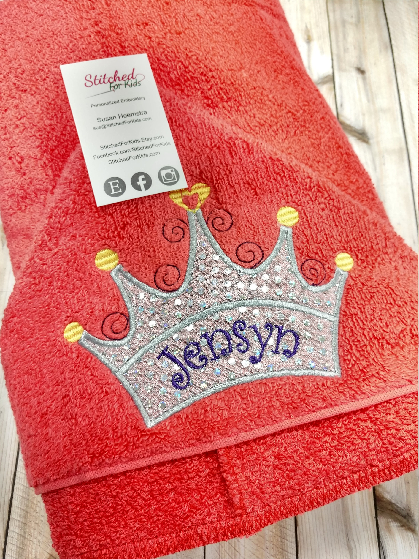 personalized princess hooded towel with crown tiara custom hooded