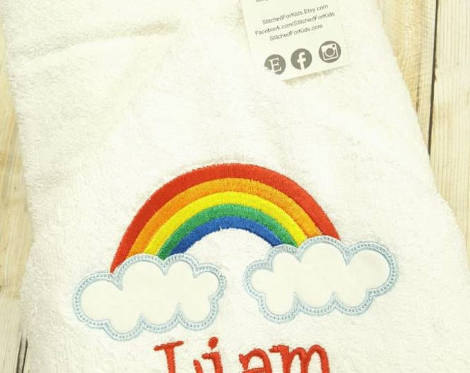 Personalized  Rainbow Hooded Towel Custom, Rainbow Baby Shower,  Rainbow Baby Gift, After Miscarriage Gift