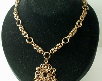 Antiqued Copper Byzantine Chainmaille and Celtic Star Necklace