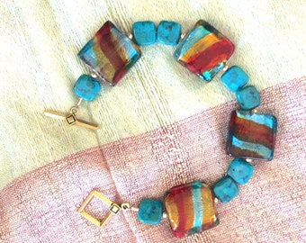 Vintage Glass and Turquoise Bracelet
