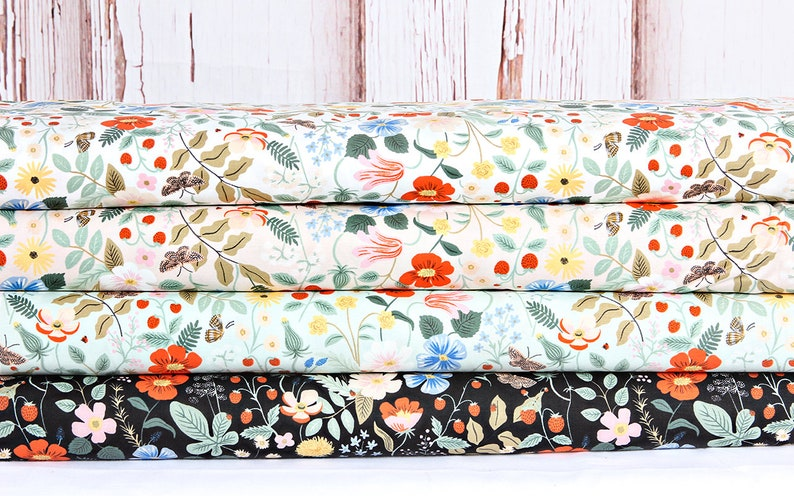 Mint Floral Rifle Paper Strawberry Fields RP400-MI2 100/% Quilters Cotton Cotton and Steel