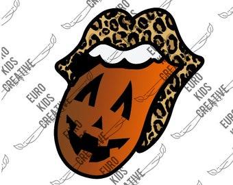 Halloween Tongue Cheetah PNG Print Sublimation Download Vampire lips Tongue Pumpkin PNG Rolling Stones Tongue Leopard vampire tongue