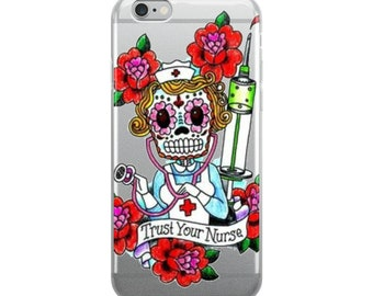 Trust your nurse iPhone Case cell phone sugar skull