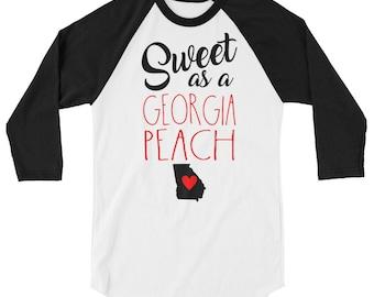Sweet as a Georgia peach 3/4 sleeve raglan shirt