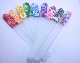 Your Choice Color Crystal Glass Extra Large Foot Nail File Handcrafted Polymer Clay Covered Millefiori Floral