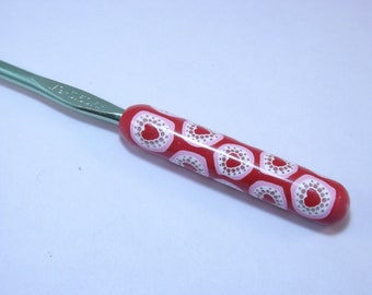 Choose Your Size/Brand Ergonomic Polymer Clay Covered Crochet Hook Handcrafted Lacy Hearts Valentines Day