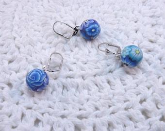 Handmade Polymer Clay Stitch Markers, Blue Millefiori Floral, Locking Closure
