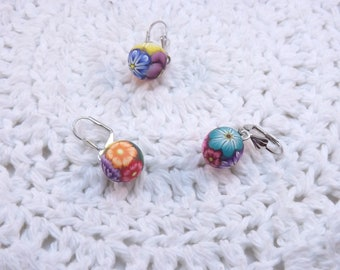 Handmade Polymer Clay Stitch Markers, Colorful Millefiori Floral, Locking Closure