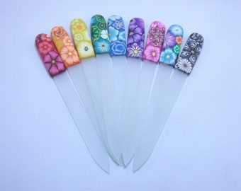Your Choice Color Crystal Glass Nail File Handcrafted Polymer Clay Covered Millefiori Floral