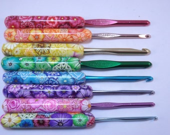 YOUR CHOICE Size/Brand Ergonomic Polymer Clay Covered Crochet Hook Handcrafted Colorful Millefiori Floral