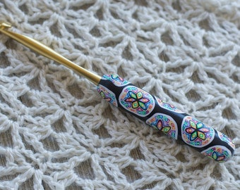 Choose Your Size/Brand Ergonomic Polymer Clay Covered Crochet Hook Handcrafted Colorful Rainbow Flower