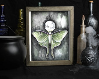 Moon Phase Wall Decor / Luna Moth Art Print / Full Moon / Moonchild / Witchy Gifts / Gothic Witch / Wiccan / Dark Fantasy Art / Moths