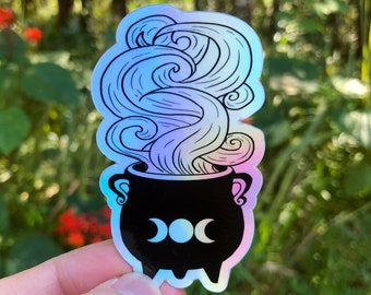 Astral Cauldron Sticker / Stickers for Hydroflask / Witchy Gifts / Triple Moon / Waterproof / Witchcraft / Car Decal / Holographic Rainbow
