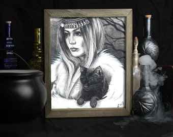 Witch Art Print / Black Cat / Halloween / Gothic Decor / Conjuring / Wiccan / Witchy Stuff / Gifts / Spells / Spellcraft / Witchcraft