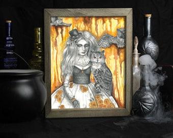 Topaz / November Birthstone / Art Print / Broken Doll / Eagle Owl / Carnival / Gothic Decor /  Owl Gifts / Owl Lovers / Marionette