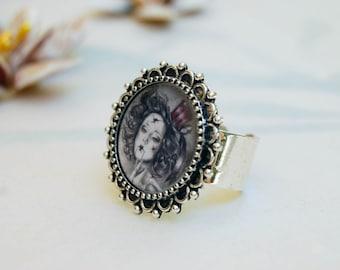 Carnival Doll Ring Victorian Doll Ring Broken Doll Ring Portrait Ring Adjustable Ring