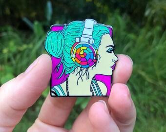 Headphone Girl Enamel Pin Glitter Enamel Pin Collectable Lapel Pin Collector Pin Lollipop Pin Gift