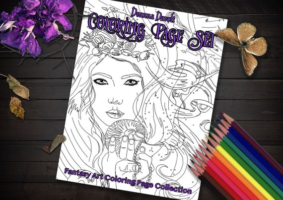 Adult Coloring Book Fantasy Art Coloring Pages Alice In Etsy