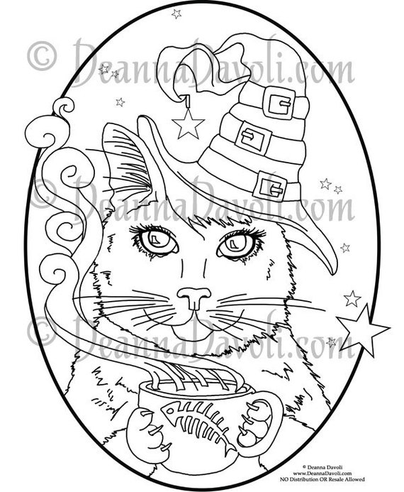 Black Cat Coloring Page Witch Cat Art Printable Coloring Page Animal  Coloring Page Halloween Cat JPG Adult Coloring Page