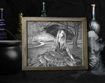 Vampire Art Print / Dark Fantasy / Gothic Decor / Halloween Supplies / Goth Illustration / Vampyre / Wall Art / Black and White / Forest
