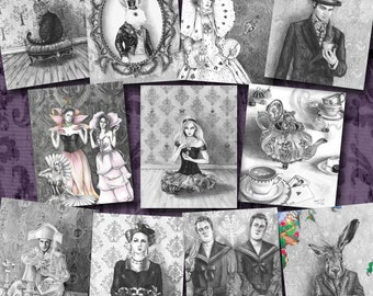 Alice in Wonderland Art / Art Print Set / Fairy Tale / Mad Hatter / White Rabbit / Fantasy / Through The Looking Glass / Lewis Carroll / Cat