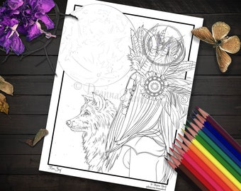 Viking Coloring Page Wolf Coloring Page Native American Coloring Page Moon Printable Coloring Page Download Coloring JPG Adult Coloring Page