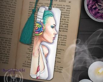 Candy Land Bookmark / Book Accessories / Urban Art / Headphone Girl / Teal Hair / Rainbow Lollipop / Book Lover Gifts / Reader / Portrait