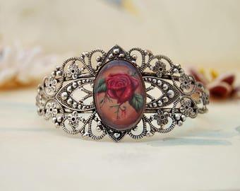 Bleeding Red Rose Adjustable Bracelet Silver Cuff Bracelet Gothic Bracelet Filagree Bracelet Rose Bracelet Flower Bracelet
